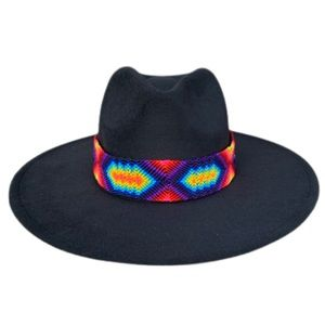 Black Rancher Hat with Neon Braided Band